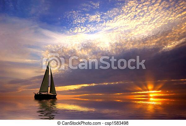 pôr do sol, velejando - csp1583498