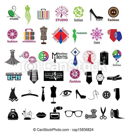 Vector , serie, de, vector, Logotipos, para, ropa, y, Moda, accesorios