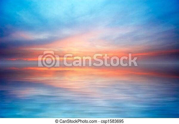 Abstrakt, Sonnenuntergang, wasserlandschaft - csp1583695