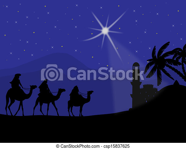 Three wise men with camels - csp15837625