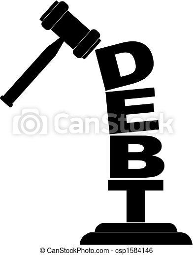 Clip Art Vector of gavel smashing debt - gavel hitting the word ...