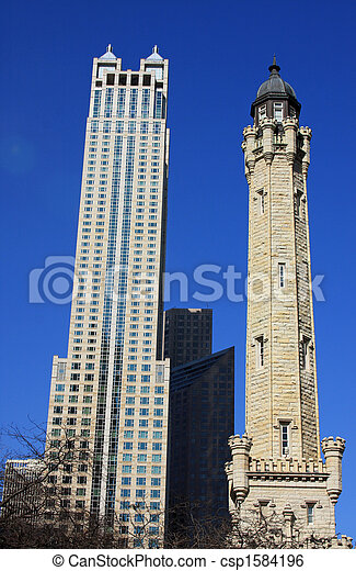 Water Tower in Downtown Chicago - csp1584196