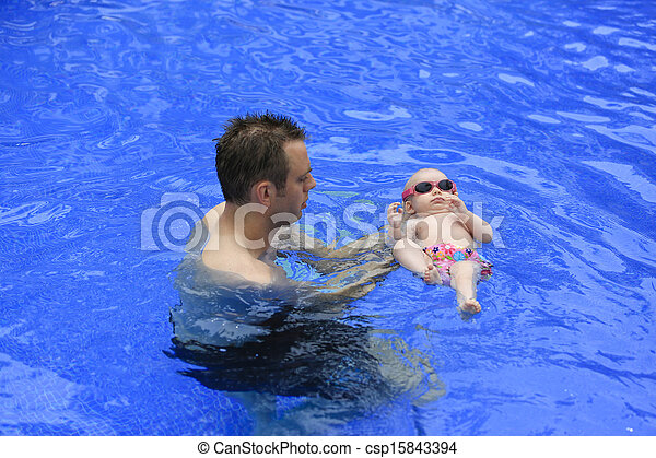 Stock photographs of small baby girl is swimming in the pool with daddy for the csp15843394 3 month old baby swimming pool