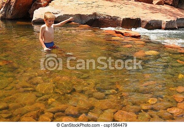 Boy in a Creek - csp1584479