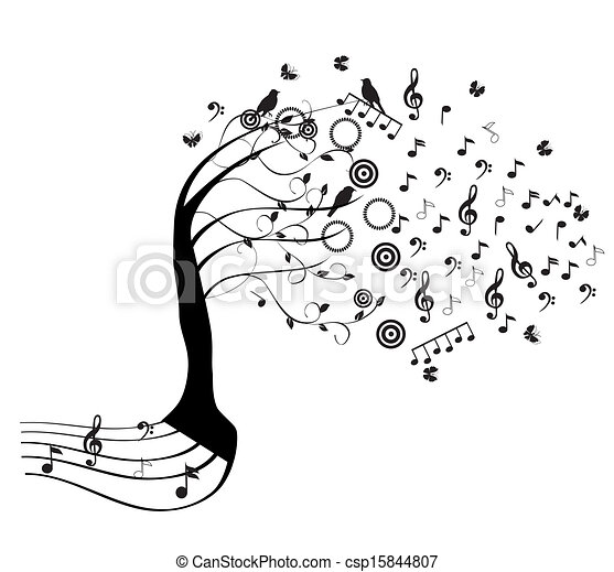 Vector clipart of music tree vector tree with musical for Note musicali dwg