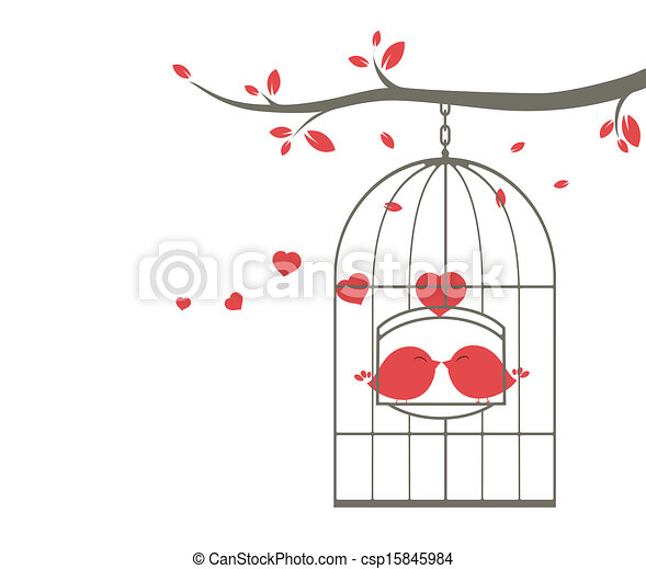 Love birds on the cage - csp15845984