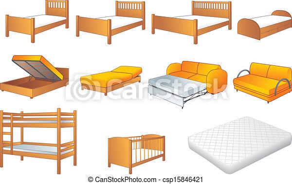 침실, 가구, 세트, 벡터 - 여러 가지이다, 침실, furniture:, 침대 ...