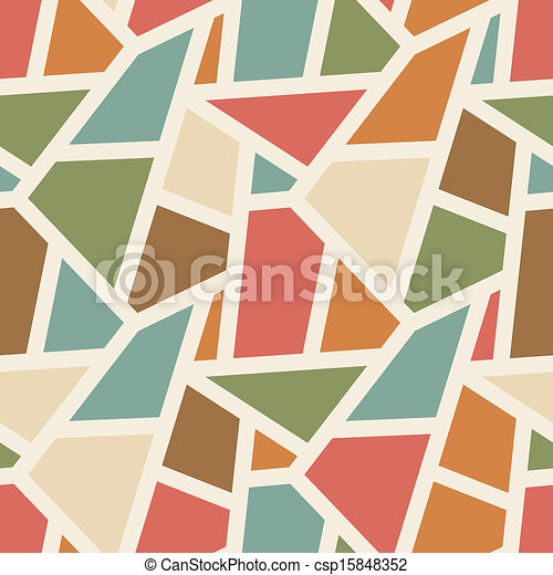 Vector seamless geometric pattern - simple abstract vintage color background for design - csp15848352