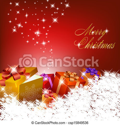 Abstract red christmas background with gift boxes - csp15849536