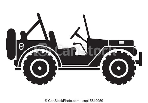 Open Jeep Images Download >> Clipart Vector of Jeep silhouette. - Gin SUV silhouette with an open top csp15849959 - Search ...
