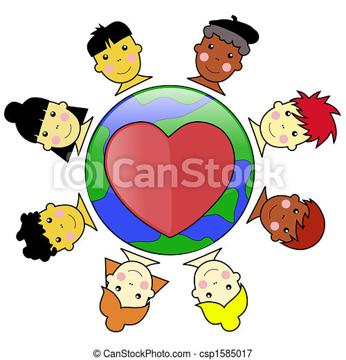Multicultural Kid Faces United Around Earth Globe Illustration jpeg - csp1585017