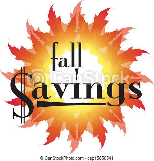 Fall Savings text in an autumn leaf - csp15850541