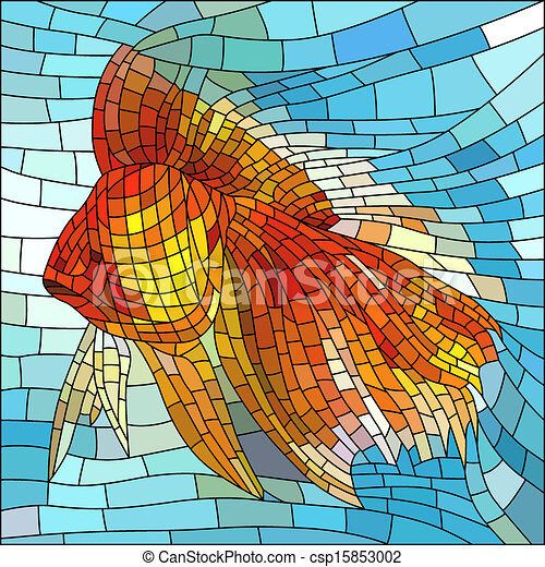 Vector Clipart of Mosaic illustration of gold fish. - Vector ...