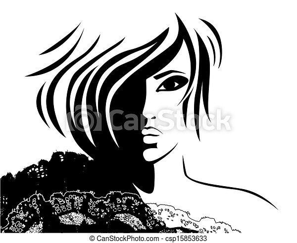 woman face with a fashionable hairstyle - csp15853633