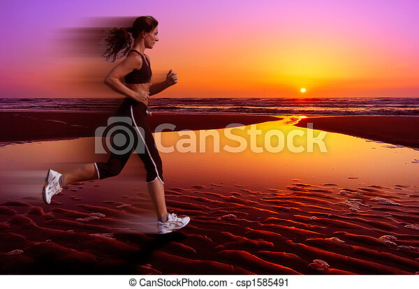 running and sunset - csp1585491