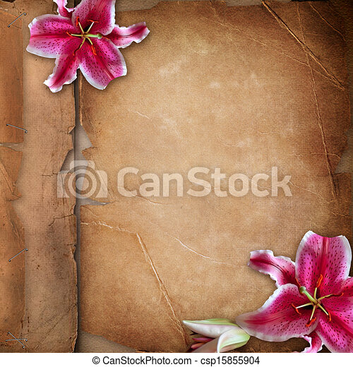Framework for photo with spring flowers over old paper album cover   - csp15855904
