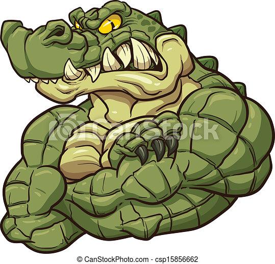 Clip Art Vector of Alligator mascot - Angry alligator mascot. Vector ...