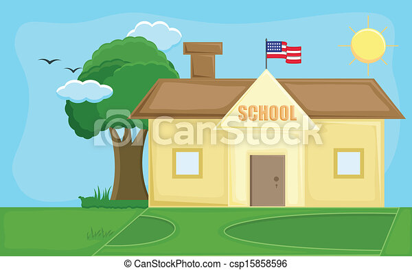 School Cartoon Drawing School House Cartoon