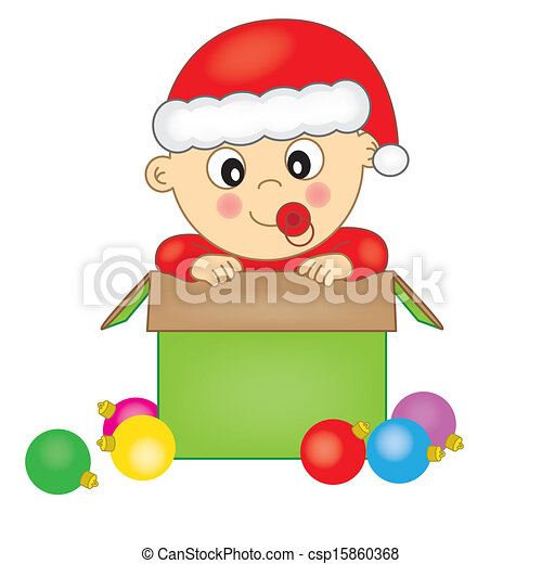 Vector baby dressed as santa claus stock illustration royalty