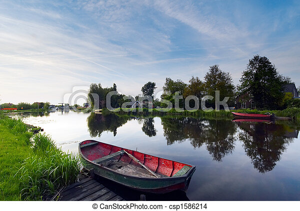 boats water and reflection - csp1586214