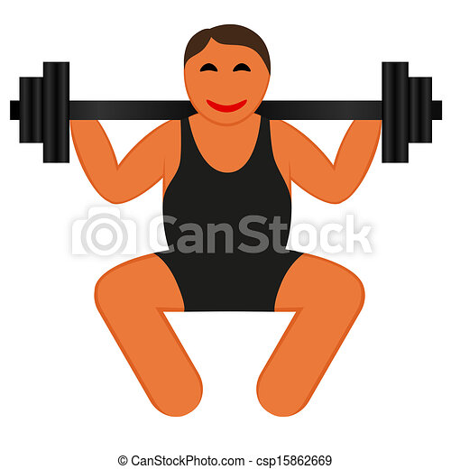 Clip Art Vector of A strong man lifting weights, icon vector ...