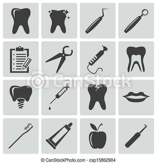 Vector black dental icons set - csp15862904