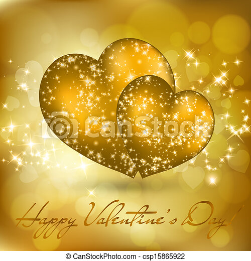 Valentine's day greeting card with two golden hearts - csp15865922