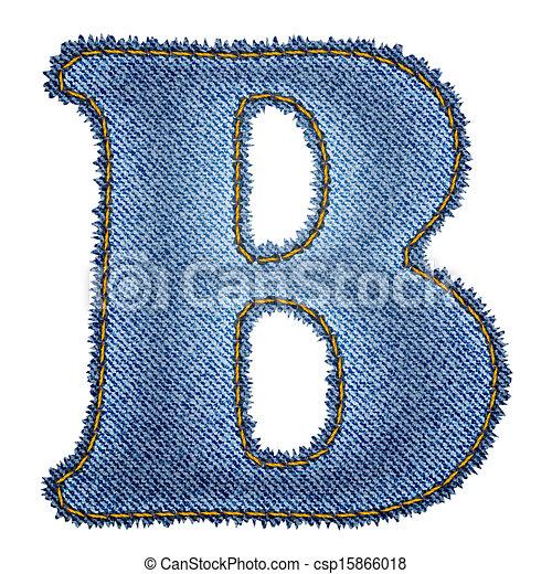 Vector Clip Art of Jeans alphabet. Denim letter B. Vector eps10 ...