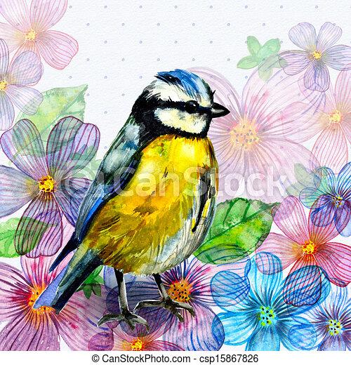 Floral retro card watercolor - csp15867826
