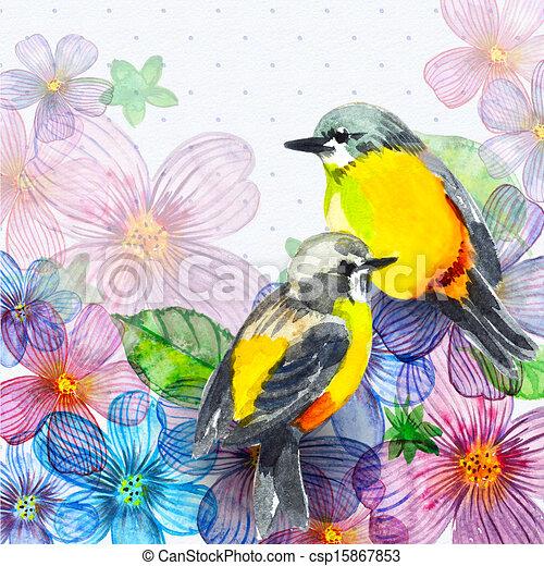 Floral retro card watercolor - csp15867853