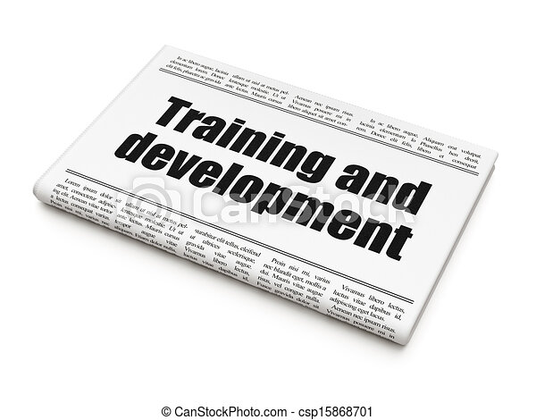 Education news concept: newspaper headline Training and Development on White background, 3d render - csp15868701