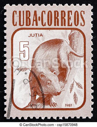 Postage stamp Cuba 1981 Hutia, Rodent, Mammal - csp15870948