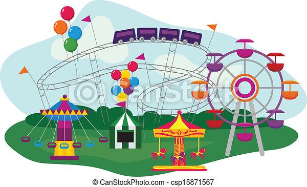 Clip Art Amusement Park Clipart amusement park clip art vector graphics 6312 eps illustration of an isolated