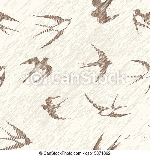 Bird swallow seamless vintage set.  - csp15871862
