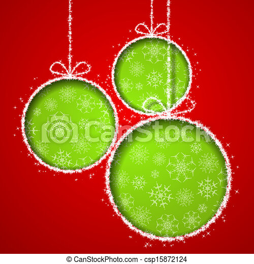 Abstract Xmas greeting card with green Christmas balsl cutted from red paper background. Vector eps10 illustration - csp15872124