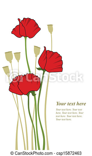 red stylized poppy - csp15872463
