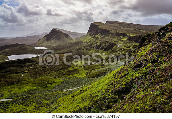 Landscape view of Quiraing mountains in Isle of Skye, Scottish highlands, United Kingdom - csp15874157