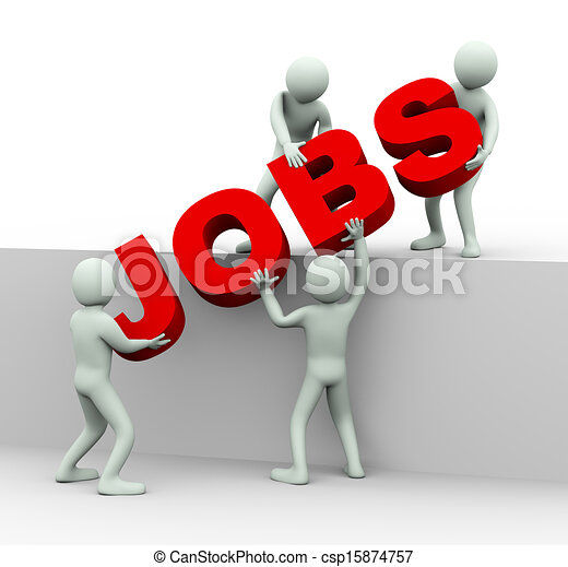3d people working together to place word jobs - csp15874757