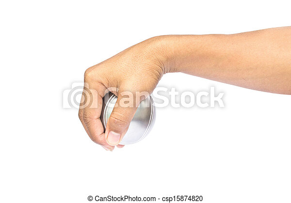 Man and petanque ball in hand on white background - csp15874820