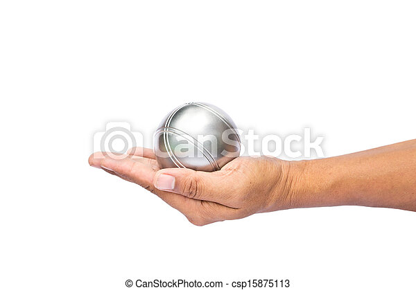 Man and petanque ball in hand on white background - csp15875113
