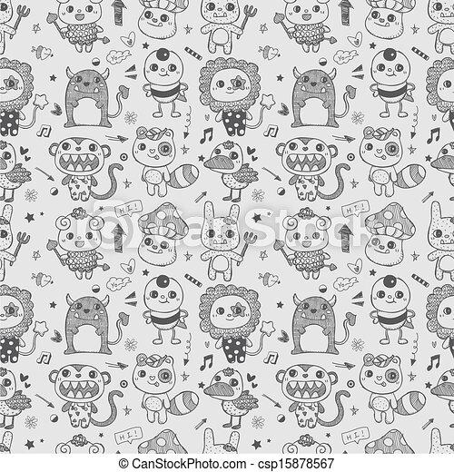 Cute Doodle Monsters Sketch Seamless Cute Doodle Monster