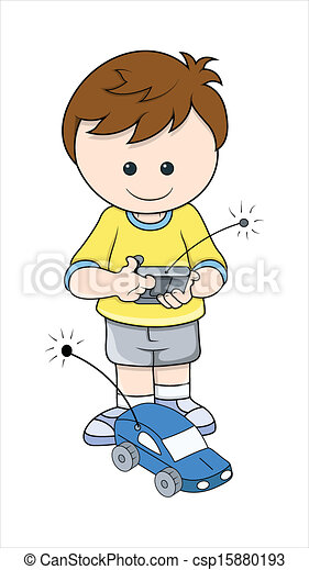 Boy Playing with Car Toy Vector - csp15880193