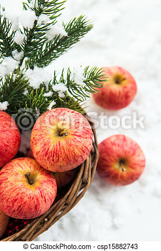 Christmas composition with apples