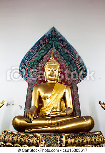 Big buddha statue beautiful in the church Bangkok Thailand - csp15883617