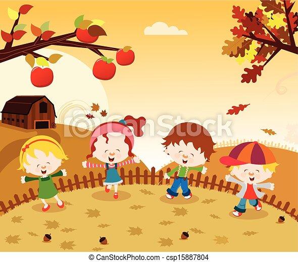 Vector Clipart of Autumn Kids - Kids enjoying autumn ...