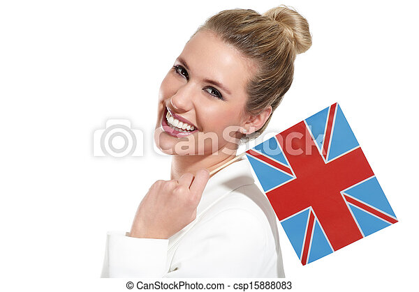 beautiful woman showing international flags - csp15888083