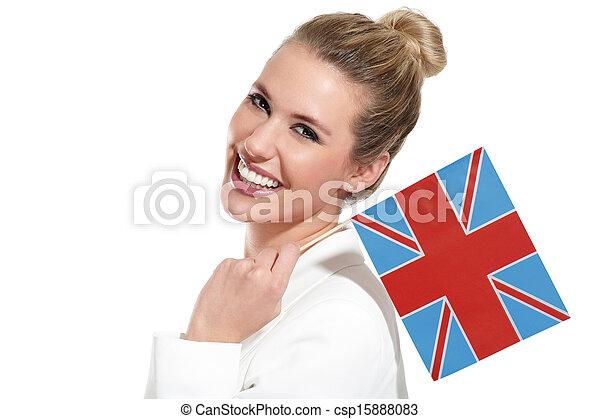 beautiful woman showing international flags - csp15888083