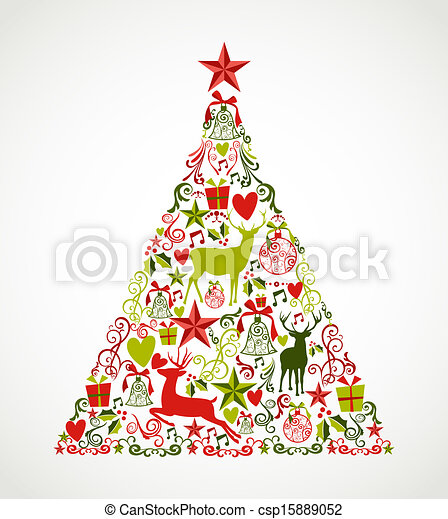 Colorful Merry Christmas tree shape with reindeers and holiday elements composition. EPS10 vector file organized in layers for easy editing. - csp15889052