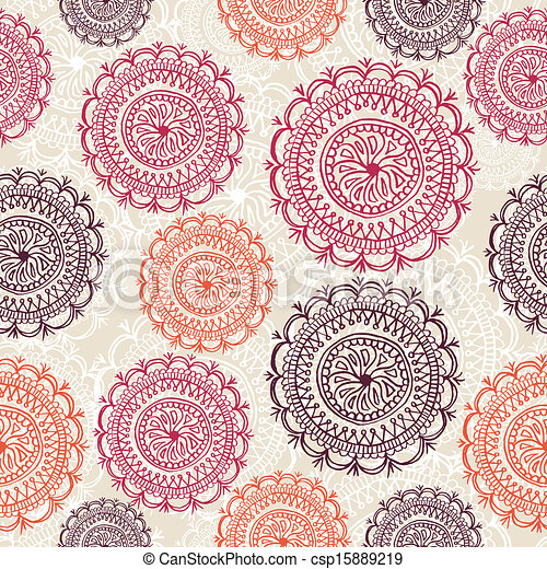 Vintage circle elements seamless pattern background EPS10 file. - csp15889219