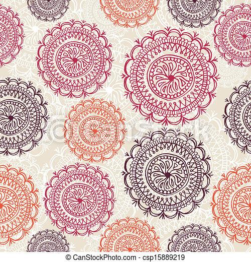 Vintage circle elements seamless pattern background EPS10 file. - csp15889219